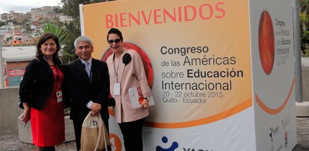 Marisol Durán Santis, Vicerrectora Académica UTEM; Miguel Sanhueza Olave, Director Utemvirtual; Patricia Gudiño, Secretaria Ejecutiva de la Organización Universitaria Interamericana.